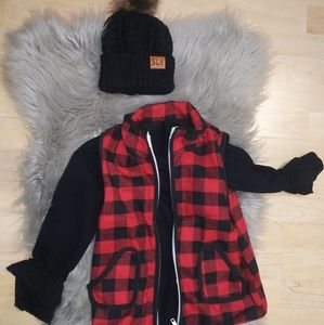 Buffalo Plaid Vest With Black Bell Sleeve Shirt